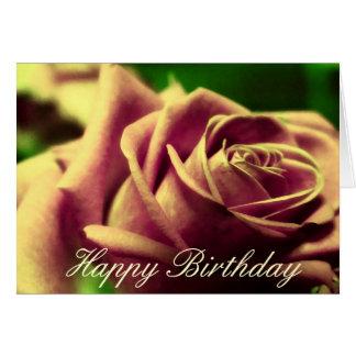 Happy Birthday Vintage Antique Rose Flower Card