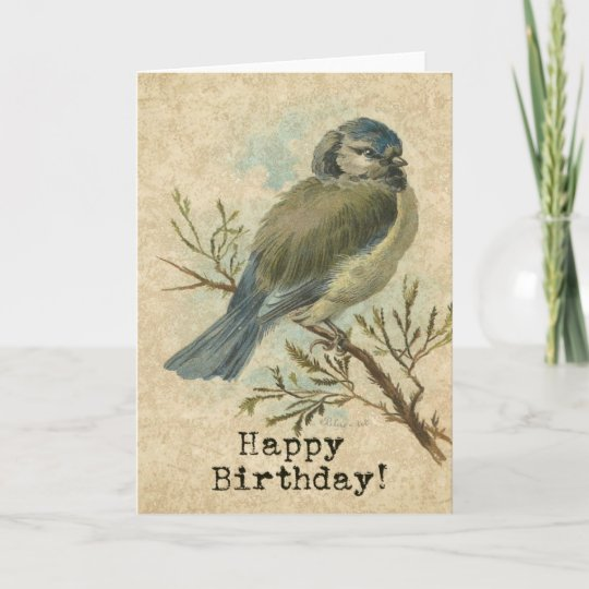 Happy Birthday Vintage Bluetit Bird Card Zazzle