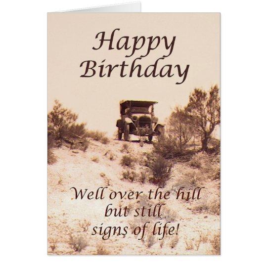 Happy Over The Hill Birthday Birthday Humor Dog Card: Happy Birthday, Vintage Card, Over The Hill, Humor Card