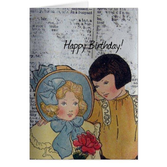 Happy Birthday Vintage Children Card