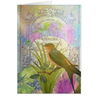 Happy Birthday Vintage French Bird Collage Card