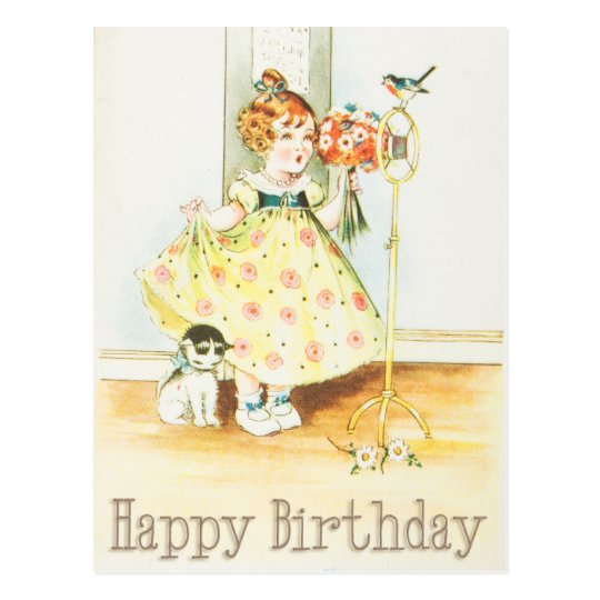 Happy Birthday Vintage Girl And Cat Postcard