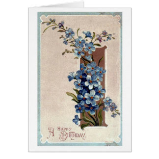 Happy Birthday Violets Blank Greeting Card