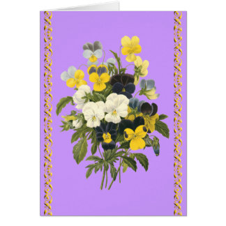 Happy Birthday Violets Botanical Flowers Card
