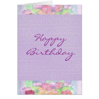 Happy Birthday Watercolor Lavender Pansy Garden Card