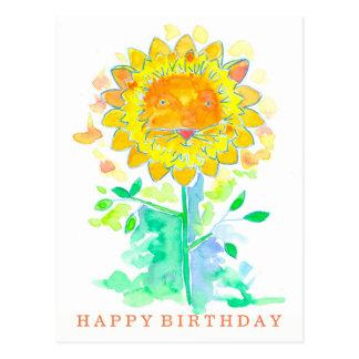 Happy Birthday Watercolor Lion Flower Postcard