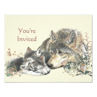 Happy Birthday Watercolor Wolf & Cub Animals Invitation