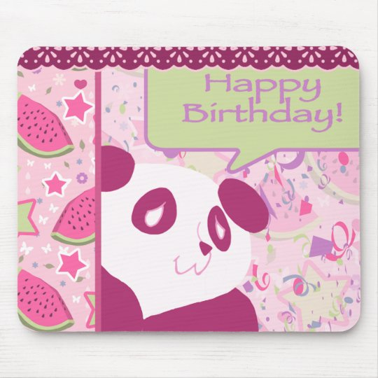 Happy Birthday Watermelon Pink Panda Mouse Pad