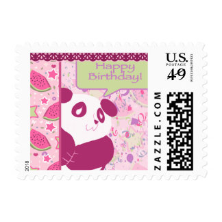 Happy Birthday Watermelon Pink Panda Postage Stamps