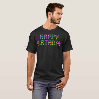 Happy Birthday Wavy Rainbow Typography T-Shirt