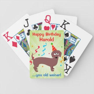 Happy Birthday Weiner Dog Custom Bicycle Playing Cards