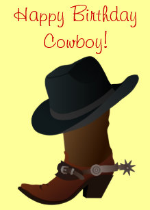 60b96c4df73 Happy Birthday Western Cowboy Hat Boots and Spurs Cake Topper