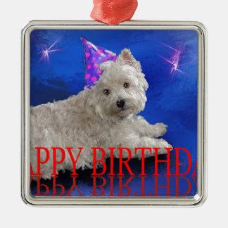 Happy Birthday Westie Metal Ornament