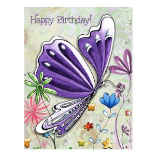 Happy Birthday Whimsical Butterfly Post Card