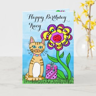 Happy Birthday Whimsical Cat and Flowers Card