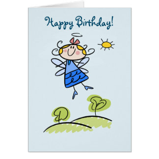 Happy Birthday Whimsical Happy Flying Angel Fairy Card