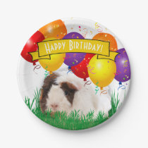 Happy Birthday White Guinea Pig Party Balloons Paper Plate