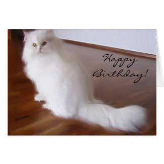 Happy Birthday White Persian cat greeting card