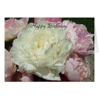Happy Birthday White Pink Peonies / Pink Peony Car Greeting Card