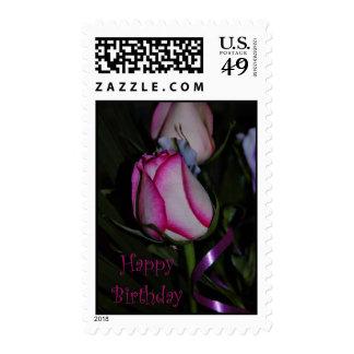 Happy Birthday white red pink rose Birthday wishes Postage