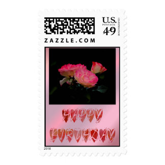 Happy Birthday white red pink rose Birthday wishes Stamps
