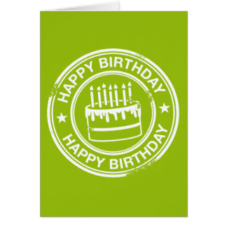 Happy Birthday -white rubber stamp effect- Card