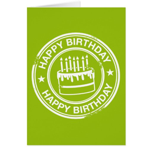 Happy Birthday -white rubber stamp effect- Greeting Card