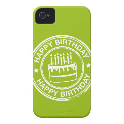 Happy Birthday -white rubber stamp effect- Case-Mate iPhone 4 Cases