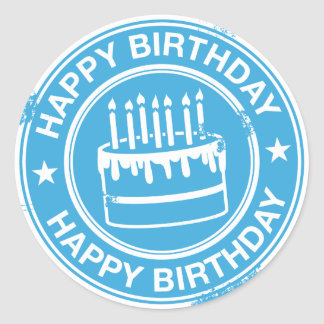 Happy Birthday -white rubber stamp effect- Classic Round Sticker