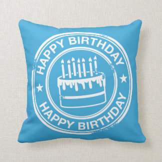 Happy Birthday -white rubber stamp effect- Pillows