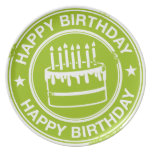 Happy Birthday -white rubber stamp effect- Plate