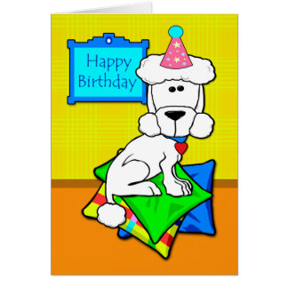 Happy Birthday, White Standard Poodle on Pillows Greeting Card