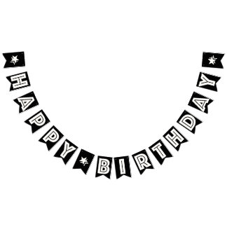 HAPPY BIRTHDAY ☆ WHITE TEXT ON BLACK BACKGROUND BUNTING FLAGS