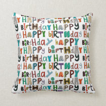 happy birthday white throw pillow