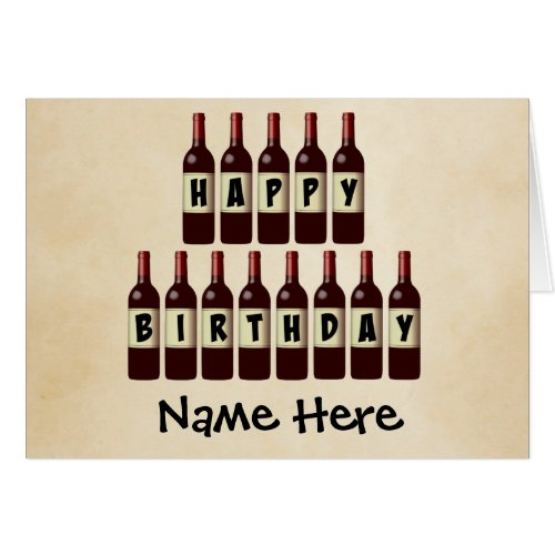 Happy Birthday Wine Bottles Customized Greeting Card