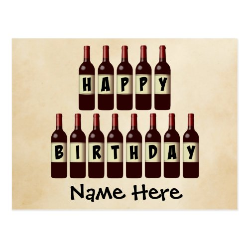 Happy Birthday Wine Bottles Customized Postcard