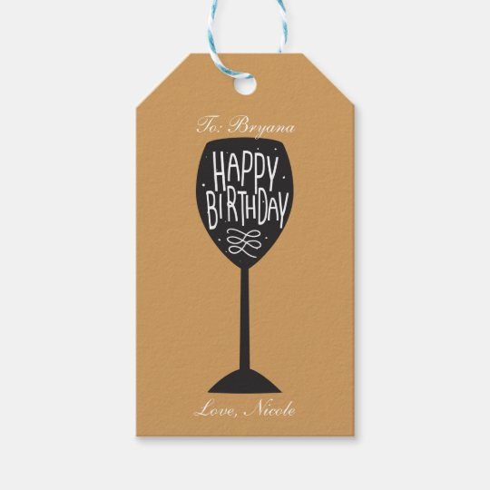 happy birthday wine glass any color gift tag - Happy Birthday Wine Glass
