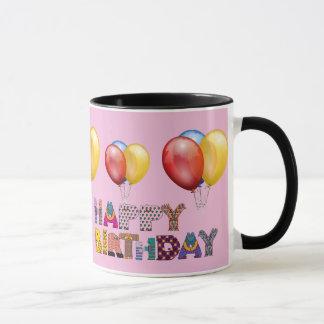 happy birthday wishes and baloon. Pink Mug
