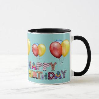 happy birthday wishes and baloon. Teal green Mug