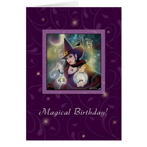 Happy Birthday - Witch Purple Magic Greeting Card