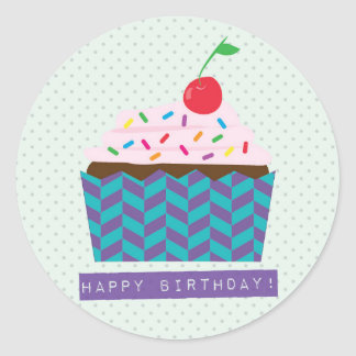Happy Birthday with a cherry on top Classic Round Sticker