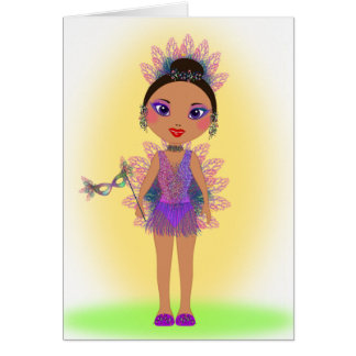 Happy Birthday with a Colorful Glitter Girl Greeting Card