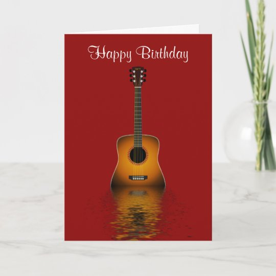 Happy Birthday With Acoustic Guitar For Musician Card Zazzle Com