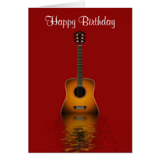 Happy Birthday with acoustic guitar for musician Cards