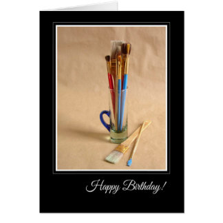 Happy Birthday with Artist's Paintbrushes Card