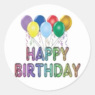 Happy Birthday with Balloon Classic Round Sticker