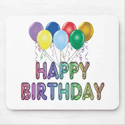 Happy Birthday with Balloon Mouse Pads