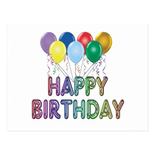 Happy Birthday with Balloon Postcard