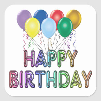Happy Birthday with Balloon Square Sticker