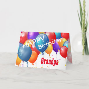 Happy Birthday With Balloons GRANDPA Card
